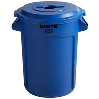 Rubbermaid BRUTE 32 Gallon Blue Trash Can and Mixed Recycle Lid