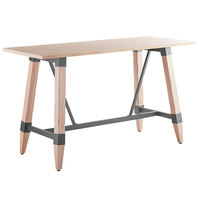 Lancaster Table & Seating 30 inch x 72 inch Solid Wood Live Edge Bar Height Table with Legs and Antique White Wash Finish