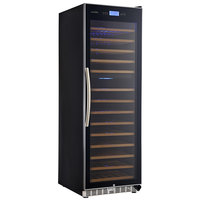 Eurodib USF168DE Single Section 154-Bottle Dual Temperature Black Full Glass Door Wine Refrigerator