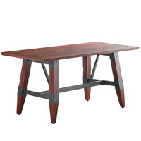 Lancaster Table & Seating 30 inch x 60 inch Solid Wood Live Edge Dining Height Table with Legs and Antique Mahogany Finish
