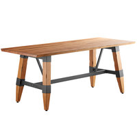 Lancaster Table & Seating 30 inch x 72 inch Solid Wood Live Edge Dining Height Table with Legs and Antique Natural Wood
