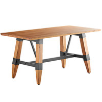 Lancaster Table & Seating 30 inch x 60 inch Solid Wood Live Edge Dining Height Table with Legs and Antique Natural Wood