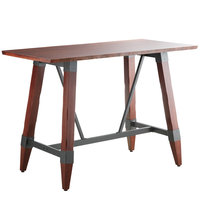 Lancaster Table & Seating 30 inch x 60 inch Solid Wood Live Edge Bar Height Table with Legs and Antique Mahogany Finish
