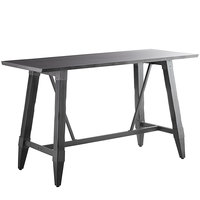 Lancaster Table & Seating 30 inch x 72 inch Solid Wood Live Edge Bar Height Table with Legs and Antique Slate Gray Finish