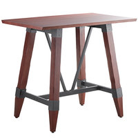 Lancaster Table & Seating 30 inch x 48 inch Solid Wood Live Edge Bar Height Table with Legs and Antique Mahogany Finish
