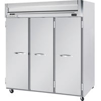 Beverage Air HRPS3-1S 3 Section Solid Door Reach-In Refrigerator - 74 cu. ft., SS Exterior and Interior