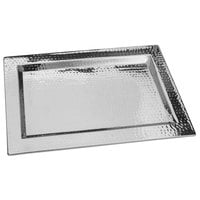 Walco VMT2014 Ironstone 20 inch x 14 inch Stainless Steel Rectangular Serving Tray