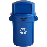 Rubbermaid BRUTE 32 Gallon Blue Recycle Bin and Dome Top Lid