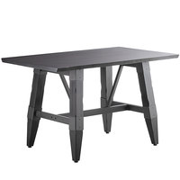 Lancaster Table & Seating 30 inch x 48 inch Solid Wood Live Edge Dining Height Table with Legs and Antique Slate Gray Finish