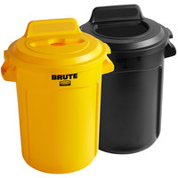 Rubbermaid BRUTE 32 Gallon 2-Stream Recycle Station with Black Open Top and Yellow Mixed Recycle Lids