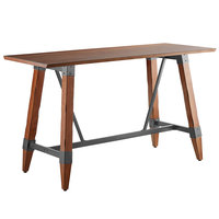 Lancaster Table & Seating 30 inch x 72 inch Solid Wood Live Edge Bar Height Table with Legs and Antique Walnut Finish