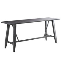 Lancaster Table & Seating 30 inch x 96 inch Solid Wood Live Edge Bar Height Table with Legs and Antique Slate Gray Finish