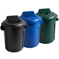Rubbermaid BRUTE 32 Gallon 3-Stream Recycle Station with Black Open Top, Green Bottle / Can, and Blue Paper Slot Lids