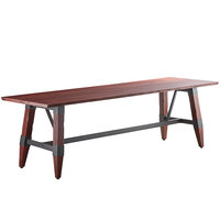 Lancaster Table & Seating 30 inch x 96 inch Solid Wood Live Edge Dining Height Table with Legs and Antique Mahogany Finish