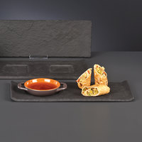 World Tableware FS-25 12 1/2 inch x 4 1/2 inch x 1/2 inch Faux Slate Porcelain Tray