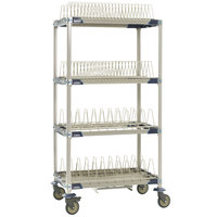 Metro PR36VX4-XDR MetroMax i Mobile Four Tier Tray / Steam Pan Drying Rack with Drip Tray - 24 inch x 36 inch x 68 inch