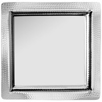 World Tableware BT-6128 Sonoran 13 5/8 inch Stainless Steel Square Tray with Hammered Rim