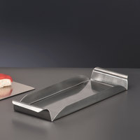 World Tableware RHT-13 13 1/4 inch Brushed Metal Tray with Rolled Handles