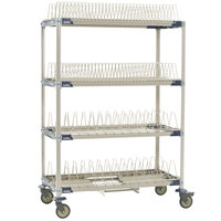 Metro PR48VX4-XDR MetroMax i Mobile Four Tier Tray / Steam Pan Drying Rack with Drip Tray - 24 inch x 48 inch x 68 inch