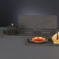 World Tableware FS-27 16 1/2 inch x 6 inch x 3/8 inch 3-Well Faux Slate Porcelain Tray
