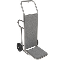 CSL 2211SS-GRY Deluxe Stainless Steel Gray Carpeted Luggage Cart / Hand Truck - 48 inch x 22 inch x 27 1/2 inch