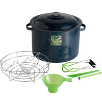 Ball 10730 21 Qt. Enamel Water Bath Canner with Rack and 4-Piece Utensil Set