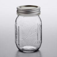 Ball 61000 16 oz. Pint Regular Mouth Glass Canning Jar with Silver Metal Lid and Band - 12/Case