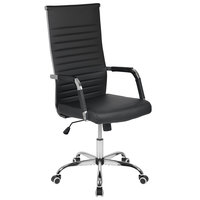 Flash Furniture H-LC-2787L-1-BK-GG High-Back Black Ribbed Leather Executive Swivel Office Chair with Padded Arms and Coat Rack