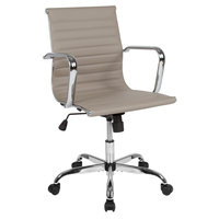 Flash Furniture H-966L-2-TN-GG Mid-Back Tan Ribbed Leather Executive Swivel Office Chair with Chrome Arms and Coat Rack