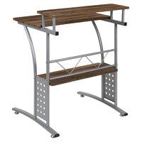 Flash Furniture NAN-CLIFTON-RU-GG Rustic Walnut Laminate Computer Desk with Metal Frame - 28 inch x 33 1/2 inch x 33 inch