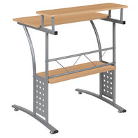 Flash Furniture NAN-CLIFTON-MP-GG Maple Laminate Computer Desk with Metal Frame - 28 inch x 23 1/2 inch x 33 inch