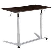 Flash Furniture NAN-IP-6-1-DKW-GG 37 3/8 inch x 20 1/2 inch Dark Wood Adjustable Height Computer Desk