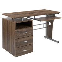 Flash Furniture NAN-WK-008-RU-GG 47 1/4 inch x 22 3/4 inch Rustic Walnut Three Drawer Desk with Pull-Out Tray