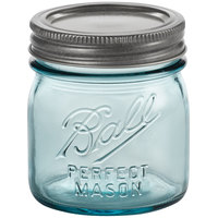 Ball 1440069053 8 oz. Half-Pint Aqua Vintage Regular Mouth Glass Canning Jar with Silver Metal Lid and Band - 4/Pack
