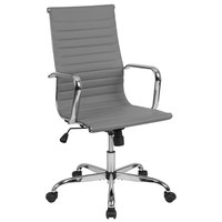 Flash Furniture H-966L-1-LGY-GG High-Back Light Gray Ribbed Leather Executive Swivel Office Chair with Chrome Arms and Coat Rack