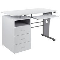 Flash Furniture NAN-WK-008-WH-GG 47 1/4 inch x 22 3/4 inch White Three Drawer Desk with Pull-Out Tray
