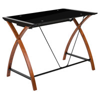 Flash Furniture NAN-JN-2824S-BK-GG Black Glass Desk with Pull-Out Tray