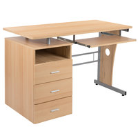 Flash Furniture NAN-WK-008-MP-GG 47 1/4 inch x 22 3/4 inch Maple Three Drawer Desk with Pull-Out Tray