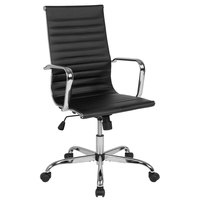 Flash Furniture H-966L-1-GG High-Back Black Ribbed Leather Executive Swivel Office Chair with Chrome Arms and Coat Rack