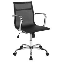 Flash Furniture H-966F-2-GG Mid-Back Black Mesh Swivel Office Chair