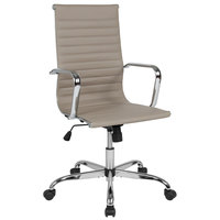 Flash Furniture H-966L-1-TN-GG High-Back Tan Ribbed Leather Executive Swivel Office Chair with Chrome Arms and Coat Rack