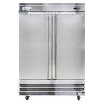 Avantco CFD-2RR 54 inch Two Section Solid Door Reach in Refrigerator