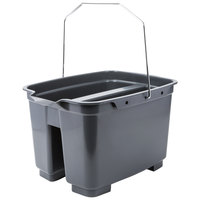 Lavex Janitorial 19.5 Qt. Gray Divided Plastic Bucket / Caddy
