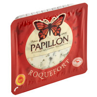Papillon 3 oz. AOP Black Label Cave-Aged Roquefort Raw Sheep's Blue Cheese Wedge   - 6/Case