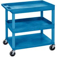 Luxor EC112-BU Blue Two Tub and One Flat Bottom Shelf Utility Cart - 35 1/4 inch x 18 inch x 36 1/4 inch