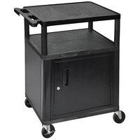 Luxor LP34C-B Black 3 Shelf A/V Utility Cart with Locking Cabinet - 24 inch x 18 inch x 34 inch