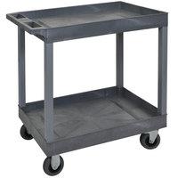Luxor EC11SP5-G Gray Two Tub Shelf Utility Cart with 5 inch Casters - 18 inch x 35 1/4 inch x 35 1/2 inch