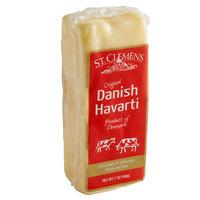 St. Clemens 7 oz. Danish Creamy Havarti Cheese Block - 12/Case