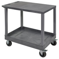 Luxor EC21SP5-G Gray 1 Tub and 1 Flat Shelf Utility Cart with 5 inch Casters - 18 inch x 35 1/4 inch x 32 1/2 inch