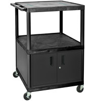 Luxor LE48C-B Black 3 Shelf A/V Cart with Electrical Assembly and Locking Cabinet - 32 inch x 24 inch x 48 1/4 inch